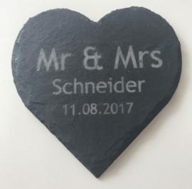 Mr&Mrs Achternaam + Datum Onderzetters set van 6
