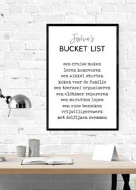 Bucketlist met naam en 10 activiteiten - Poster