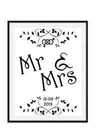 Mr en Mrs wandposter met trouwdatum - trouwposter