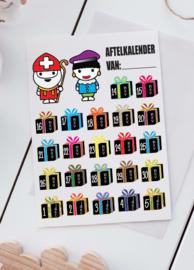 Aftelkalender Sint & Piet - Gratis Stickervel