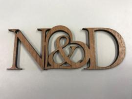 Sleutelhanger hout met 2 initialen