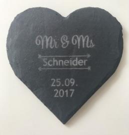 Mr&Ms Achternaam + Datum Onderzetters set van 6