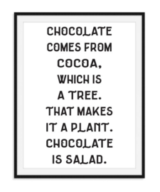 Chocolate comes from cacao poster