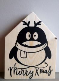 Kerstmis huisje pinguin merry xmas