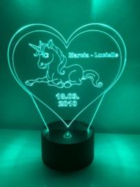 LED Lamp Eenhoorn met Naam + Datum (lig)