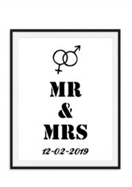 Mr/s en Mr/s met trouwdatum en symbolen wandposter