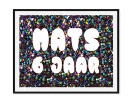 Ster confetti verjaardag poster - Met naam en jaar