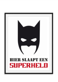 Hier slaapt een superheld poster kinderkamer eigen kleur