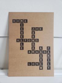 Scrabble poster met stoere achtergrond