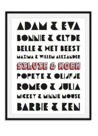 Adam en Eva trouwposter met namen in kleur