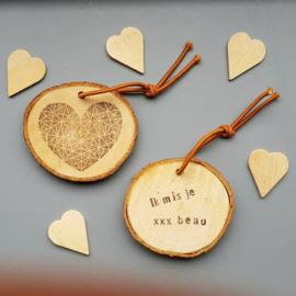 Schijf sleutelhanger met hart en eigen tekst