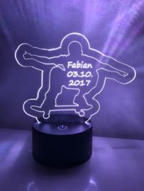 LED Lamp Skateboarder met Naam + Datum