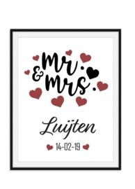 Mr & Mrs met achternaam en trouwdatum - Poster