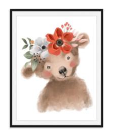 Beertje met bloemen poster