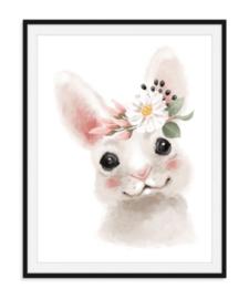 Konijntje met bloemen poster
