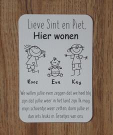 Lieve Sint en Piet wenskaart - Hier wonen