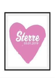 Poster met naam en datum in hart