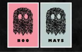 Spookje boo met naam Poster - zachtroze & zachtblauw