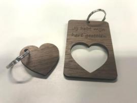 Set sleutelhangers met hart in kader