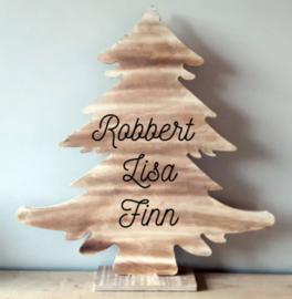 Houten kerstboom met namen