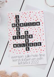 Kerstkaart Scrabble Namen wit, set van 4