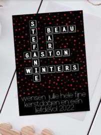 Kerstkaart Scrabble Namen zwart, set van 4