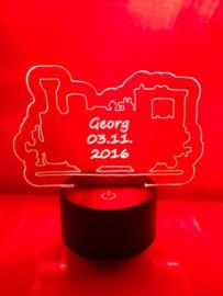 LED Lamp Locomotief met Naam + Datum