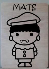 Piet met jouw naam op bord