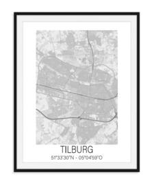 Plattegrond Tilburg - Grijstinten