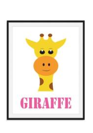 Giraffe poster met naam naar keuze