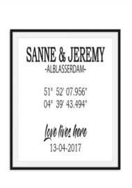 Namen en coördinaten zwart wit poster - Trouwgeschenk