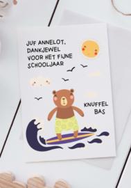 Kaart voor de juf - Surf beer