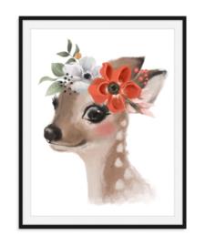 Hert met bloemen poster