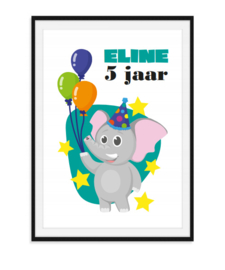 Olifant verjaardag - Poster met naam en leeftijd