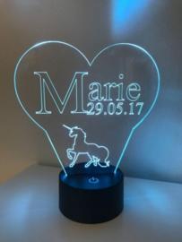 LED Lamp Naam + Datum Eenhoorn