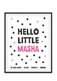 Hello little met naam en data poster - in kleur