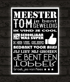 Meester Poster met namen - keuze uit 9 kleurenNaam