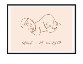 Baby lijntekening - Geboorteposter met naam en datum