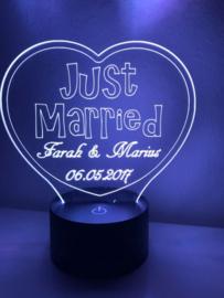 LED Lamp Hart Just Married met Namen + Datum