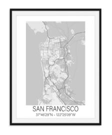 Plattegrond San Franscisco - Grijstinten