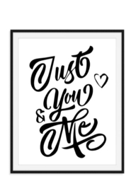 You and me Grafische interieurposter zwart wit