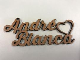 Sleutelhanger hout met 2 namen en hart