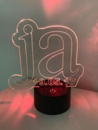 LED Lamp Ja met Datum