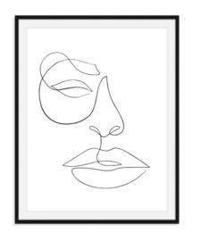 Lijntekening gezicht poster - zwart