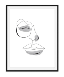 Lijntekening gezicht poster - kleur