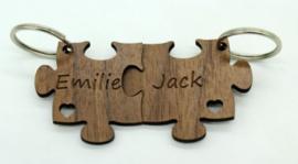 Set sleutelhangers puzzelstukjes met namen