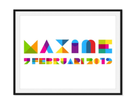 Naam en geboortedatum in hippe kleuren - Poster