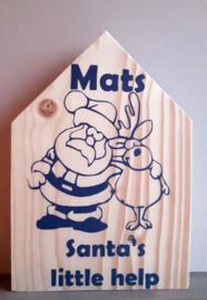 Kerstmis huisje Santa's little help met naam