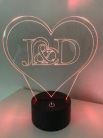 LED Lamp 2 initialen met Hart