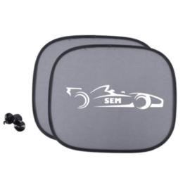 Zonnescherm met naam in raceauto - Autoaccessoire